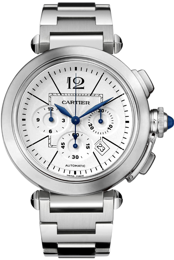 Authentic Cartier Pasha W31085M7 stainless steel watch with chronograph