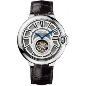Authentic cartier-ballon bleu flying tourbillon watch with black leather strap