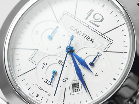 white chronograph subdials and blue hands of replica cartier watch