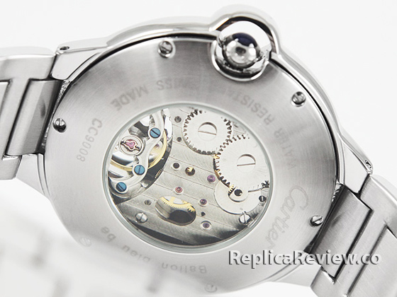 Replica cartier ballon bleu flying tourbillon back glass