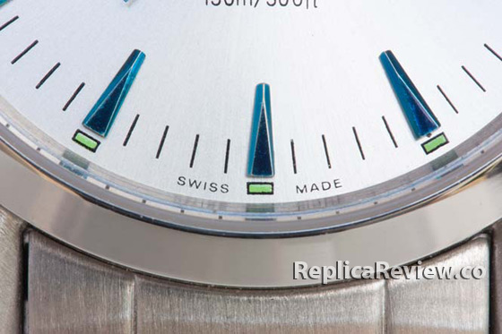 Swiss made marking on the lower part of the dial