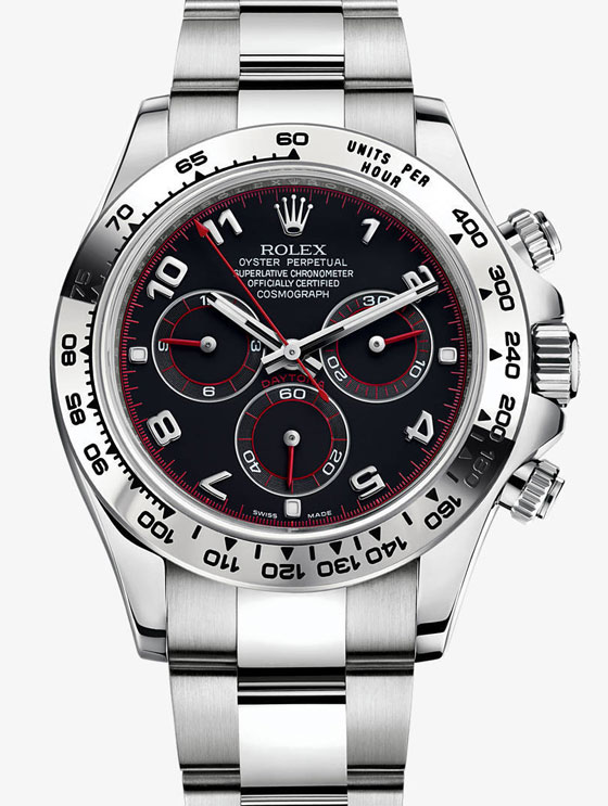 Genuine Rolex Daytona model 116509 with black dial and red hour hands
