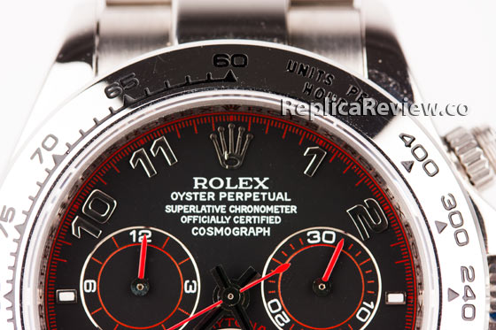 Upper part of Daytona Imitation dial with Rolex logo