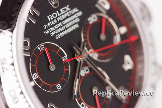 Red hands of fake daytona chronograph subdials