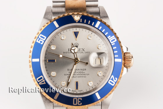 Silver dial with diamonds hours marks replica watch
