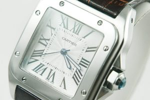 white dial, brown band Cartier replica watch