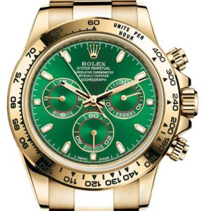 green dial gold case and bezel Rolex daytona watch