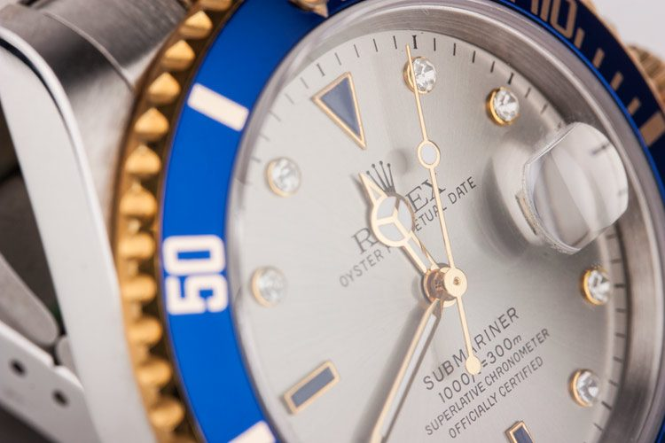 blue bezel, diamond markings submariner replica watch