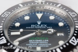 Fake Rolex Deepsea watch Dial and black ceramic bezel