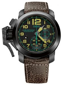 brown band, black dial Graham Chronofighter watch