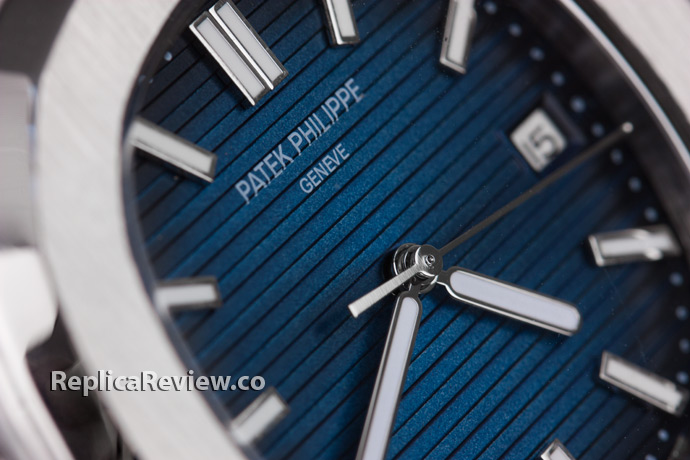 blue dial watch closeup