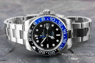 fake GMT Master II watch with black and blue bezel
