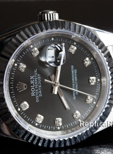fake Rolex Datejust watch with black dial and steel band