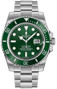 authentic rolex submariner watch with green dial